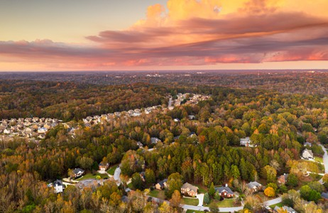 Real Estate Photography Neighborhood At Sunset