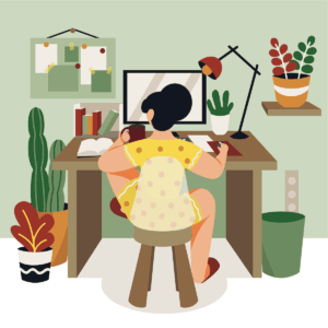 Working At Home Scene