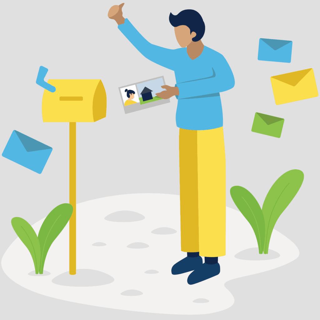 Mailbox Grey Background Blurb Illustration